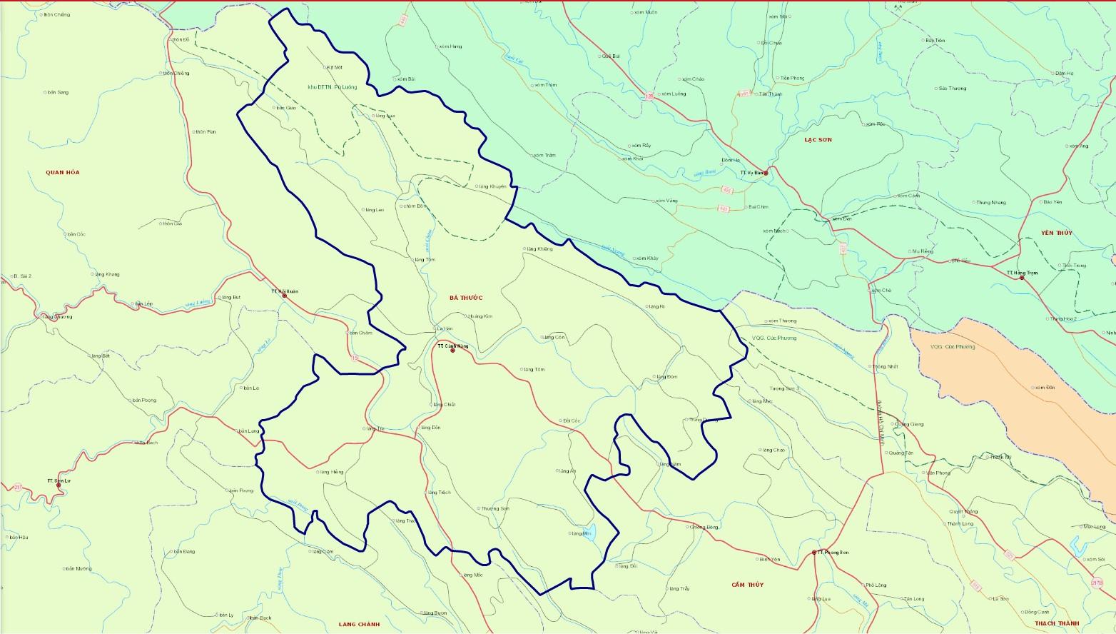 Bản đồ hành chính huyện Bá Thước