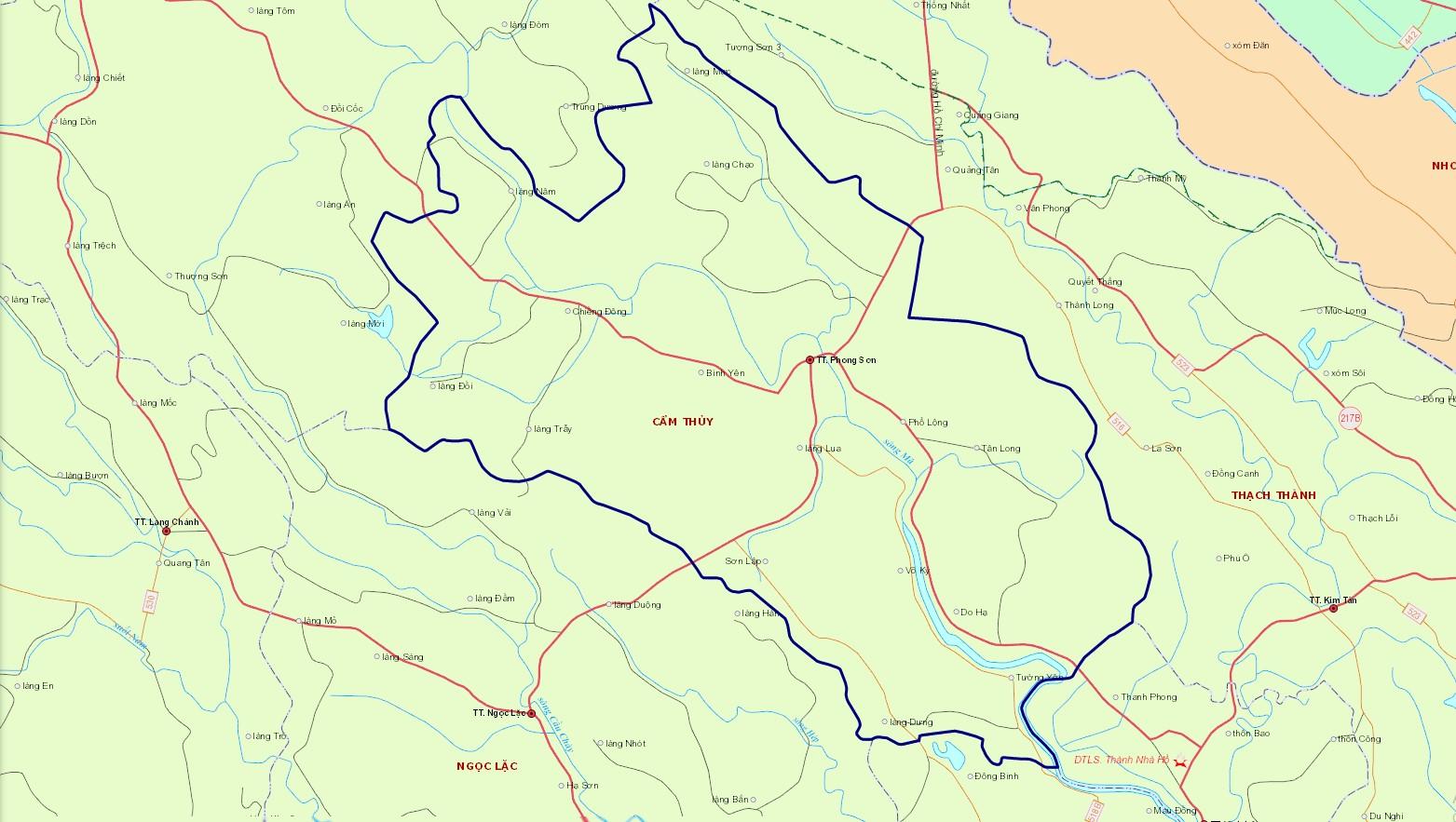 Bản đồ hành chính huyện Cẩm Thủy