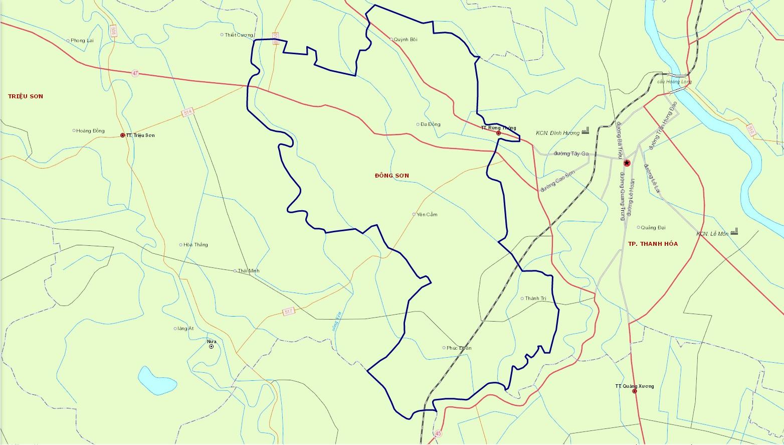 Bản đồ hành chính huyện Đông Sơn