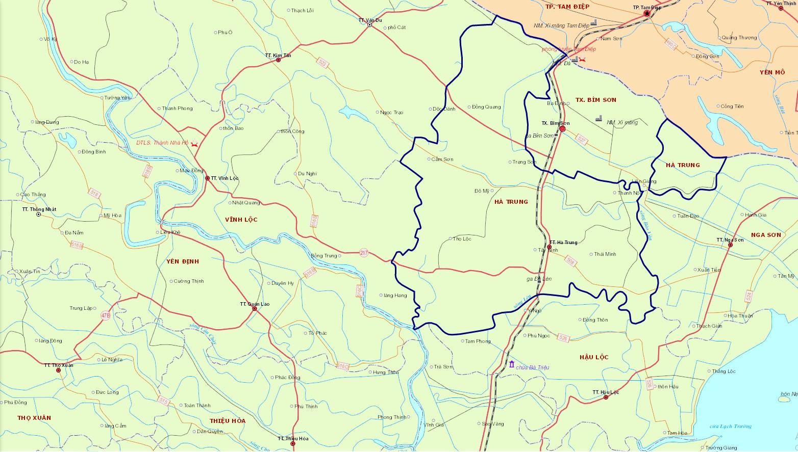Bản đồ hành chính huyện Hà Trung