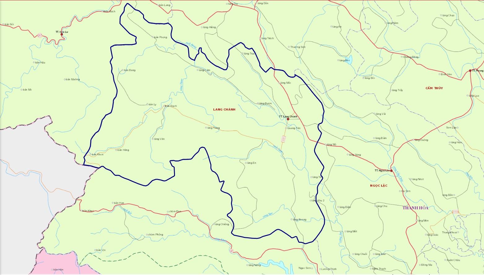 Bản đồ hành chính huyện Lang Chánh
