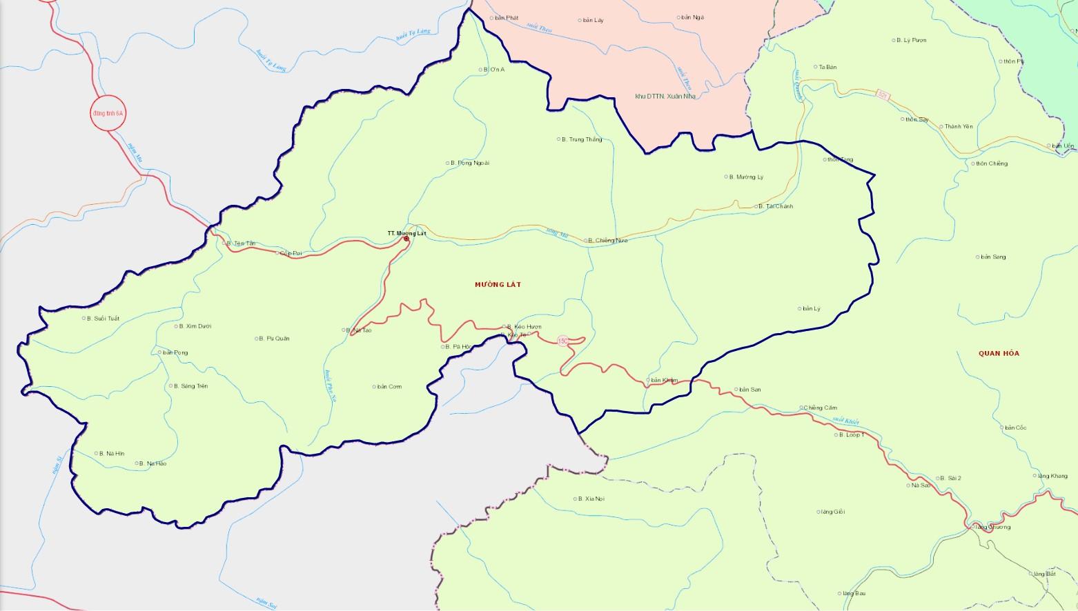 Bản đồ hành chính huyện Mường Lát