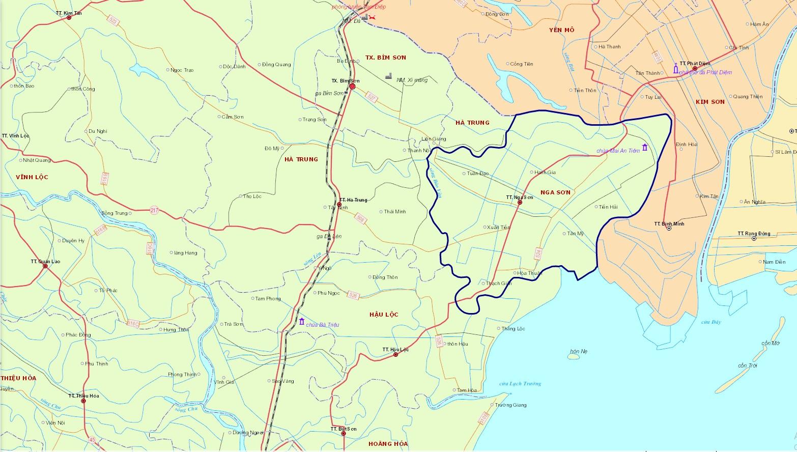 Bản đồ hành chính huyện Nga Sơn