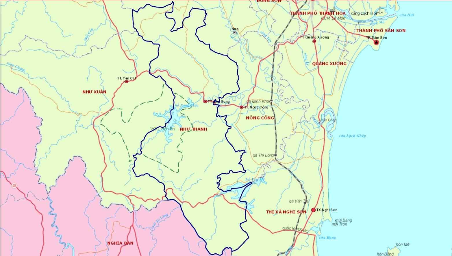 Bản đồ hành chính huyện Như Thanh