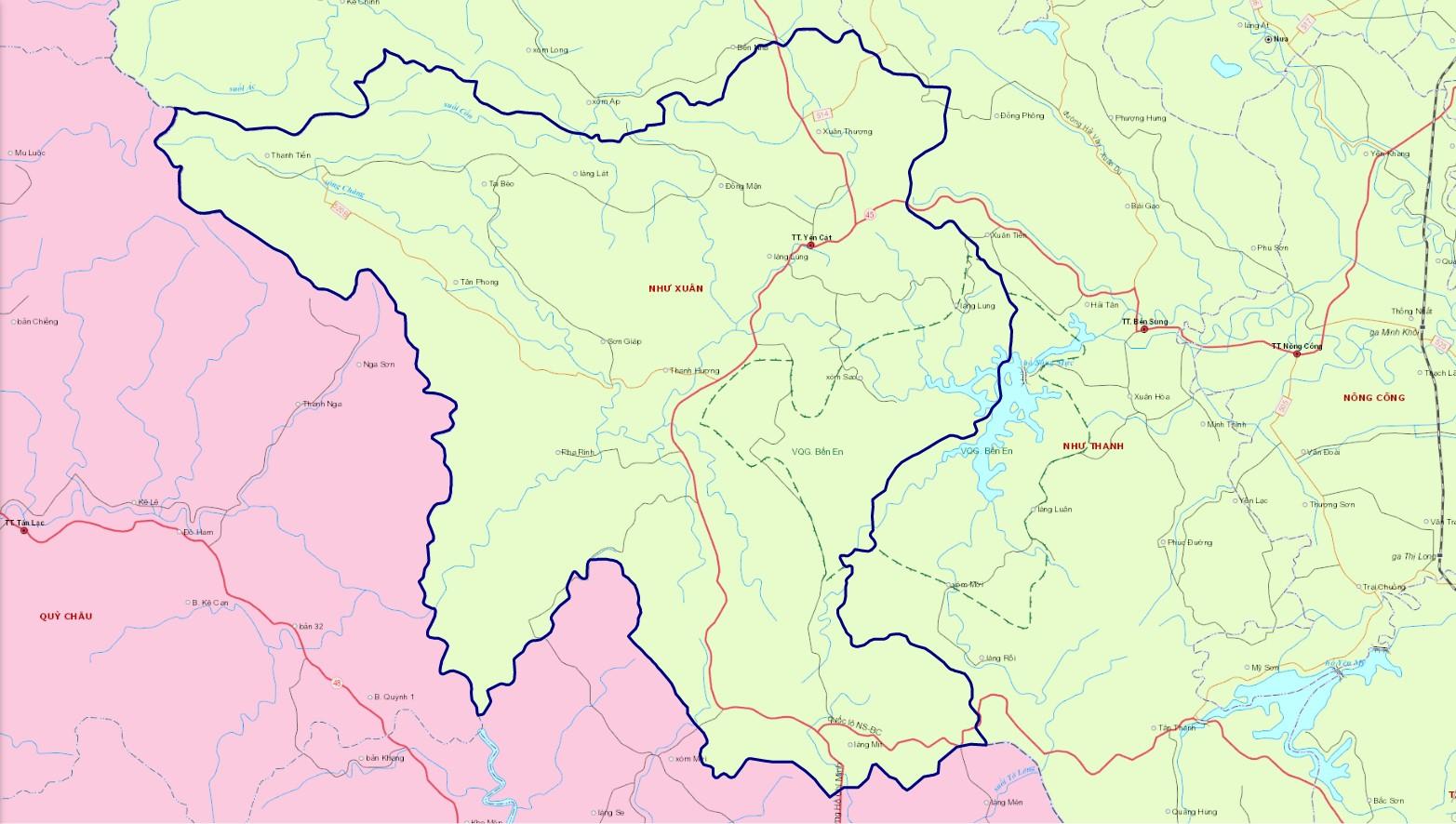 Bản đồ hành chính huyện Như Xuân