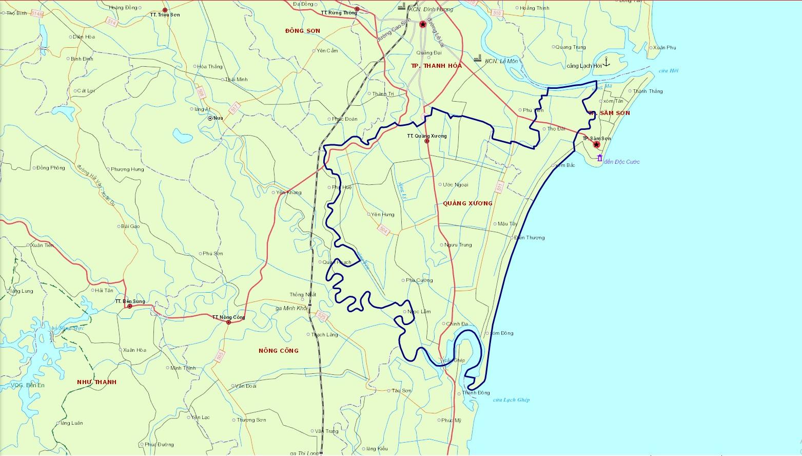 Bản đồ hành chính huyện Quảng Xương