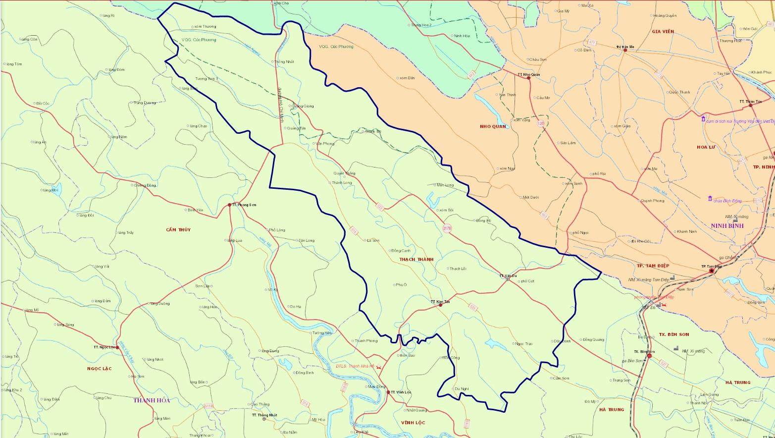 Bản đồ hành chính huyện Thạch Thành