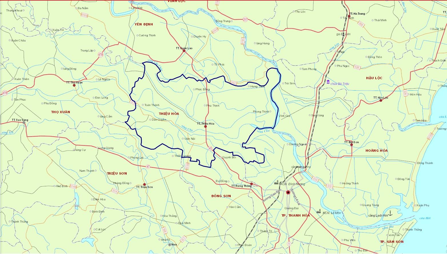 Bản đồ hành chính huyện Thiệu Hóa