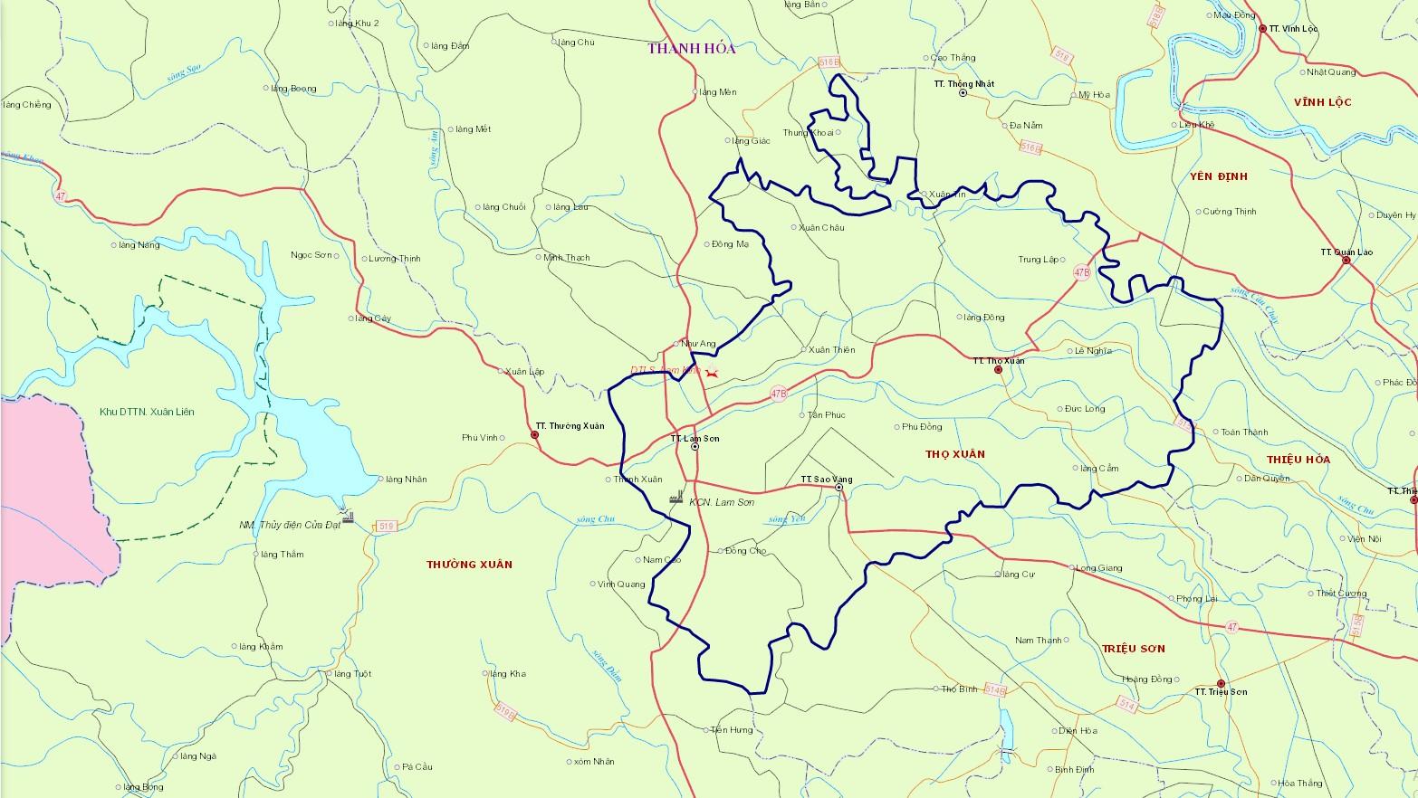 Bản đồ hành chính huyện Thọ Xuân