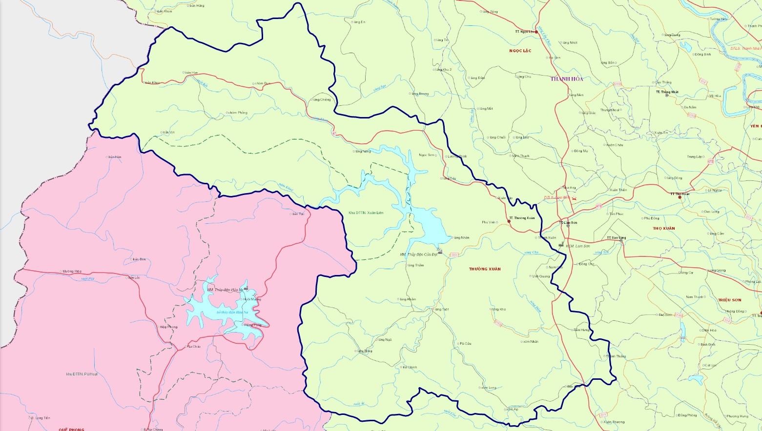 Bản đồ hành chính huyện Thường Xuân