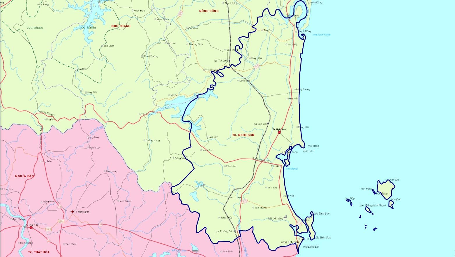 Bản đồ hành chính thị xã Nghi Sơn