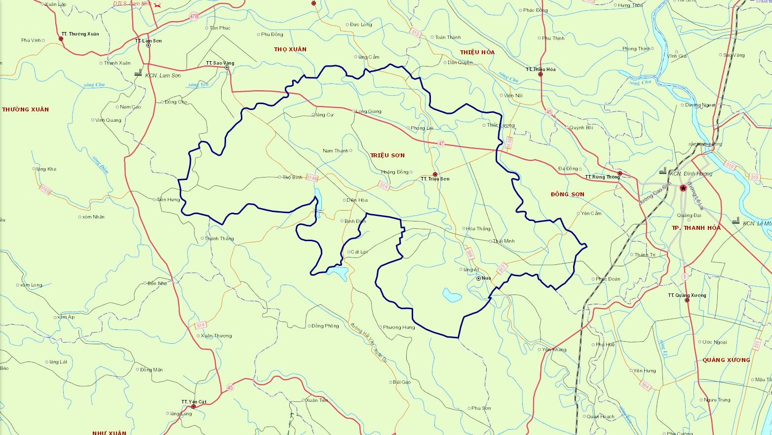 Bản đồ hành chính huyện Triệu Sơn