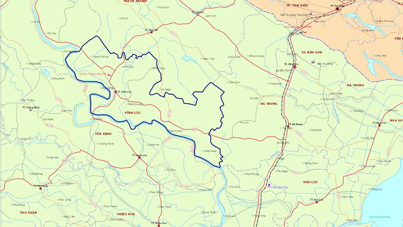 Bản đồ hành chính huyện Vĩnh Lộc