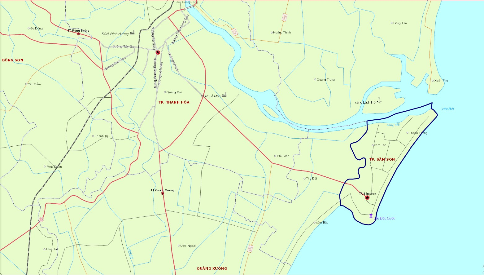 Bản đồ hành chính tỉnh thành sầm Sơn