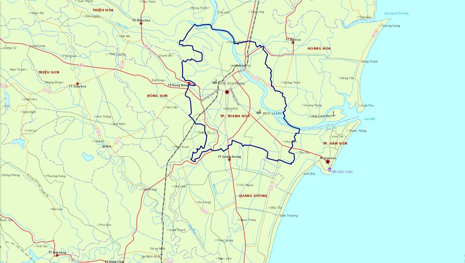 Bản đồ hành chính thành phố Thanh Hóa