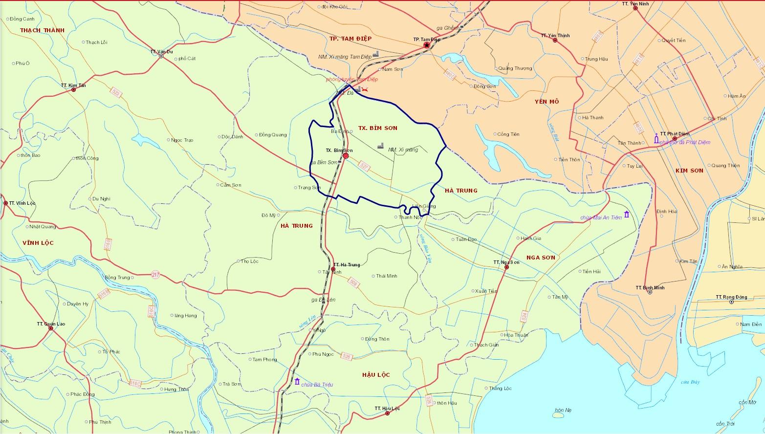 Bản đồ hành chính thị xã Bỉm Sơn